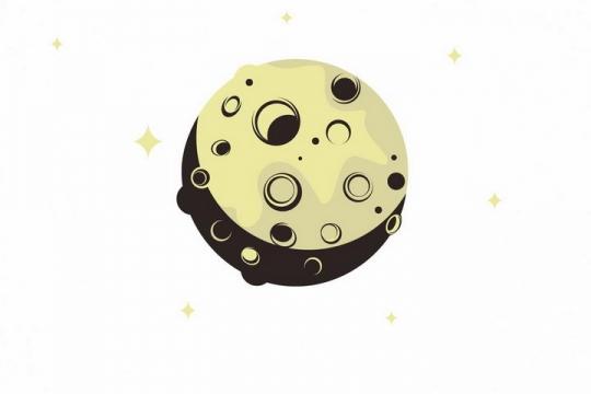 扁平化风格布满陨石坑黄色月亮月相变化png图片免抠矢量素材