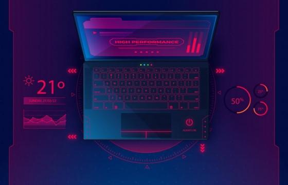 超酷的深红色笔记本电脑配图数据立体插图免抠矢量图片素材