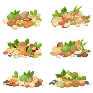 各种干果核桃开心果花生等坚果拼盘图片免抠矢量图