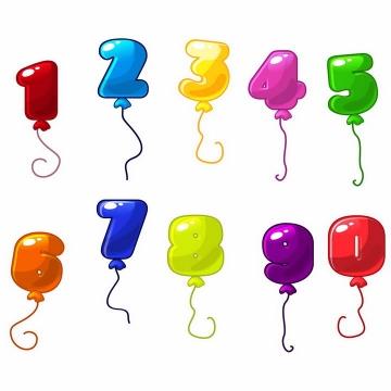彩色卡通数字气球png图片免抠矢量素材