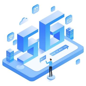 蓝色立体风格手机上的5G通信技术图片免抠png素材
