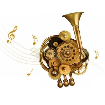 创意蒸汽朋克风格铜色齿轮机械装置组成的乐器png图片免抠素材