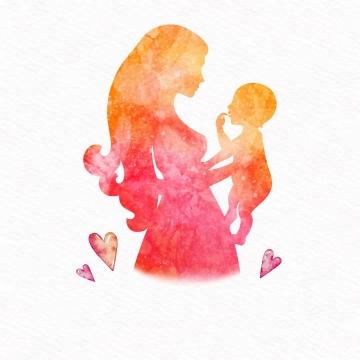 水墨画风格妈妈抱着孩子母亲节免抠矢量图片素材