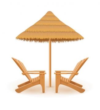 夏日海滩上的草制遮阳伞和躺椅侧视图免抠矢量图片素材