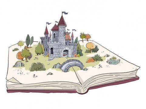 彩绘风格翻开书本上的城堡立体书图片免抠矢量素材