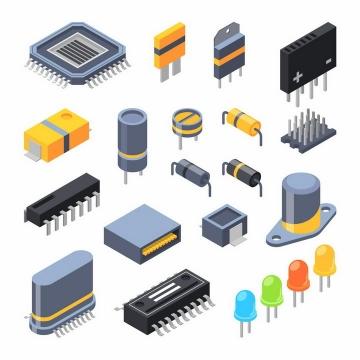 2.5D立体风格集成电路芯片电容器电阻器电感二极管晶体管等png图片免抠矢量素材