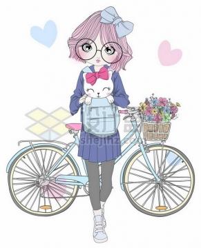 手绘卡通少女背包里放着猫咪离开自行车png图片素材