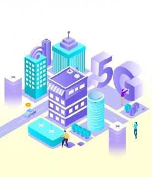 蓝色紫色立体风格智慧城市中的5G通信技术图片免抠png素材