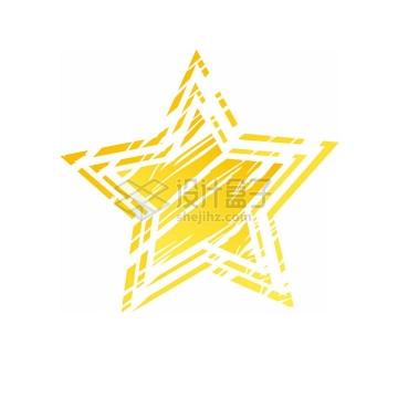 斑驳划痕风格的金黄色同心五角星图案png图片免抠素材