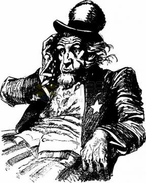 焦头烂额的美国山姆大叔黑色插画png图片素材