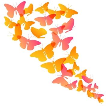 一群红色彩色蝴蝶装饰图案免抠矢量图片素材