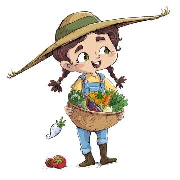 丰收的季节抱着一箩筐蔬菜的卡通女孩图片免抠矢量素材