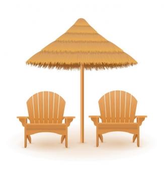 夏日海滩上的草制遮阳伞和躺椅正面图免抠矢量图片素材