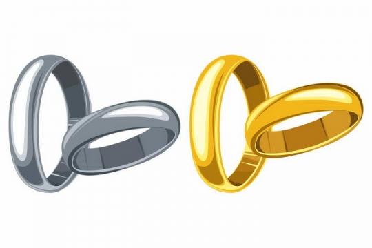 两款深灰色银戒指和金戒指结婚戒指png图片免抠矢量素材