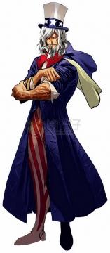 漫画中帅气的美国山姆大叔png图片素材