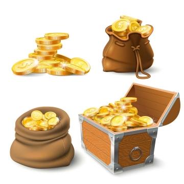 4款立体风格金币和装在袋子箱子中的金币图片免抠矢量图
