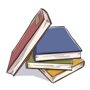 彩绘风格堆放在一起的书本图片免抠矢量素材