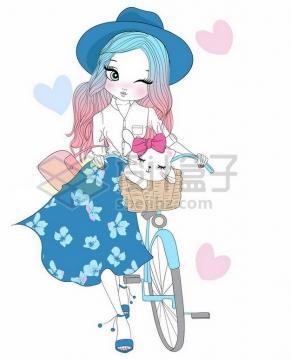 蓝裙子的手绘卡通少女推着自行车png图片素材