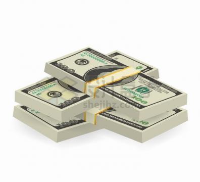 交错摆放的百元大钞美元钞票png图片免抠矢量素材