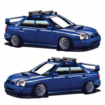 两种视角的蓝色汽车赛车png图片免抠矢量素材