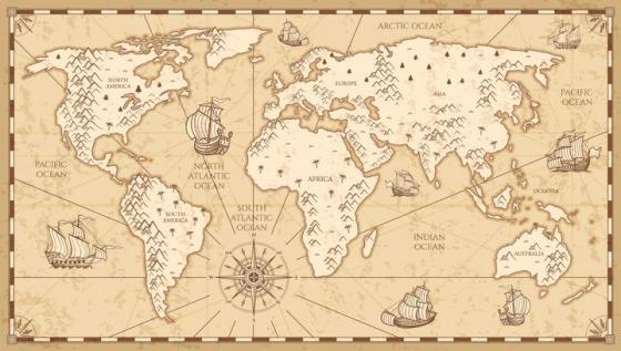 复古仿古风格的世界地图图片免抠素材