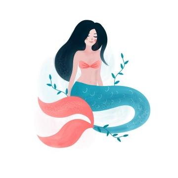 手绘插画风格美人鱼童话故事人物免抠矢量图片素材
