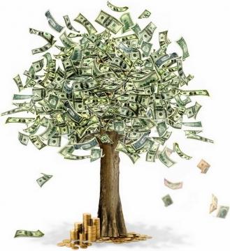 摇钱树上长满了美元钞票和金币png图片素材