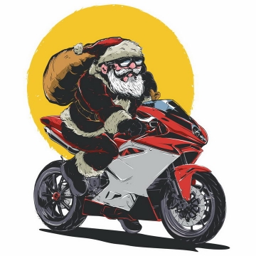 骑摩托车的超酷圣诞老人png图片免抠矢量素材
