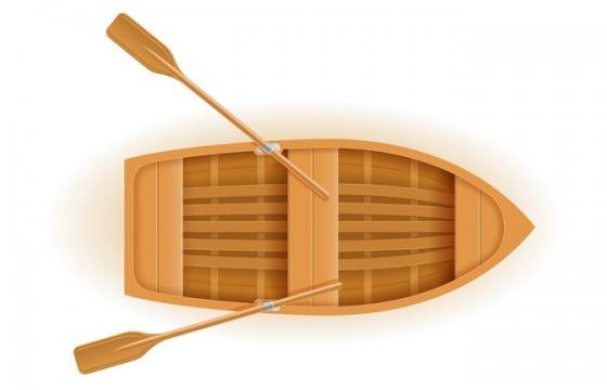 带有两个船桨的小木船免抠矢量图片素材