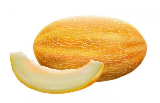 切开的哈密瓜美味水果横切面png图片免抠矢量素材