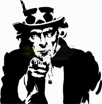 黑白经典插画美国山姆大叔png图片素材