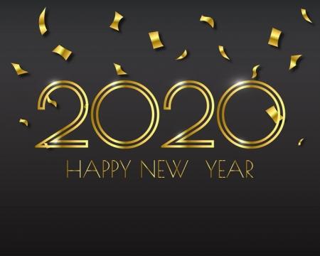 金色碎纸飘带2020字体图片免抠矢量素材