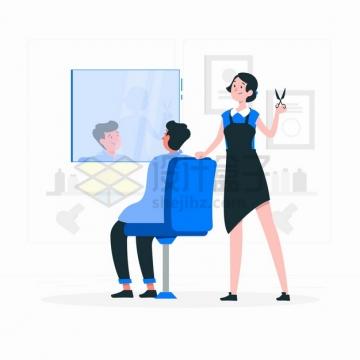 卡通美女理发师正在剪头理发店美容美发扁平插画png图片素材