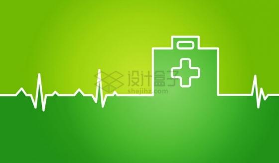 白色心电图组成的医疗分隔线png图片素材