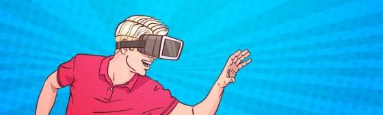 手绘美式漫画风格戴虚拟现实技术VR眼镜的年轻人素材