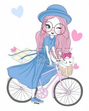 蓝色连衣裙手绘卡通少女骑着粉红色自行车png图片素材