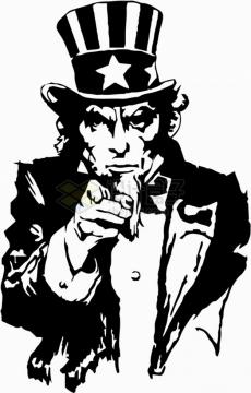 黑白插画美国山姆大叔半身像png图片素材