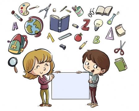 手绘卡通插画风格教学元素的孩子图片免抠矢量图