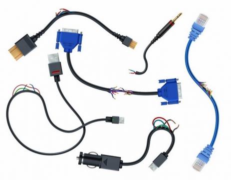 各种断裂的HDMI/VGA/USB/网卡等电脑接口连接线png图片免抠eps矢量素材