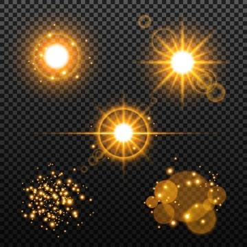 金色太阳光芒光晕效果图片免抠矢量图素材