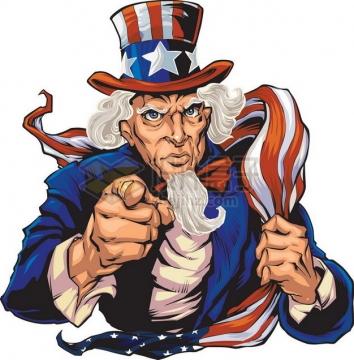拿着美国国旗的山姆大叔插画png图片素材