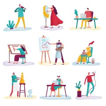 9款扁平插画风格拉小提琴办公绘画陶艺雕刻裁缝唱歌等活动的年轻人图片免抠矢量图