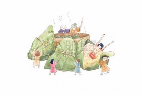 卡通孩子们正在吃巨大的粽子端午节插画120241png图片素材