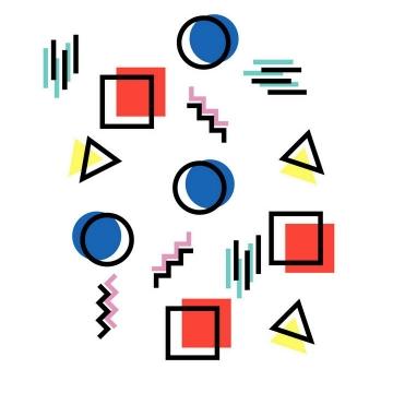 孟菲斯风格方块圆圈三角形线条装饰图案免扣图片素材