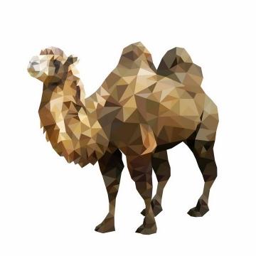 三角形多边形组成的双峰骆驼png图片免抠矢量素材