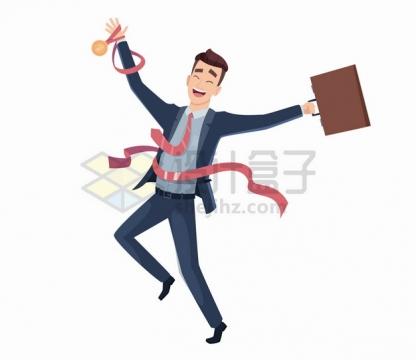 卡通商务人士获得第一名奖章高兴得手舞足蹈png图片素材