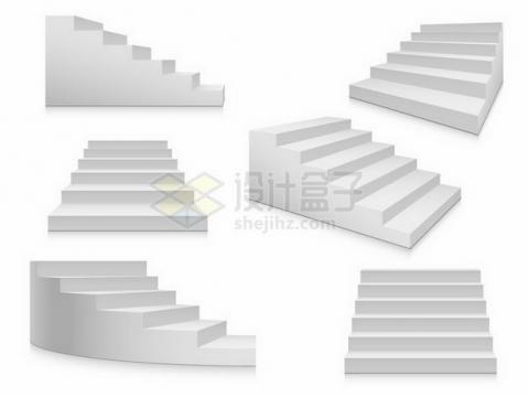 6款不同角度形状的灰白色台阶png图片免抠矢量素材