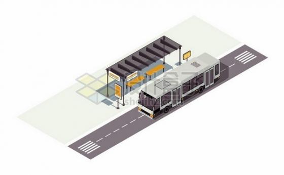 2.5D风格公交站台和公交车png图片素材