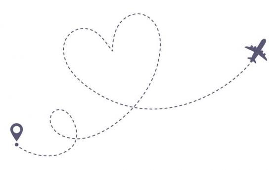 飞机和定位图标之间形成的心形虚线图片免抠矢量图