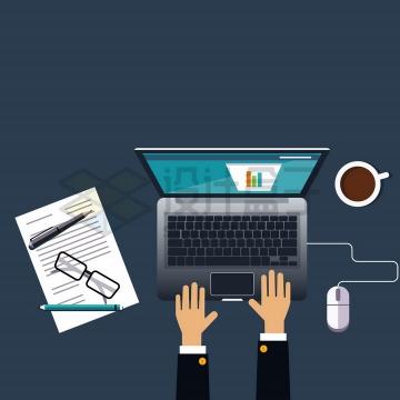 俯视视角双手正在操作笔记本电脑商务题材png图片免抠矢量素材